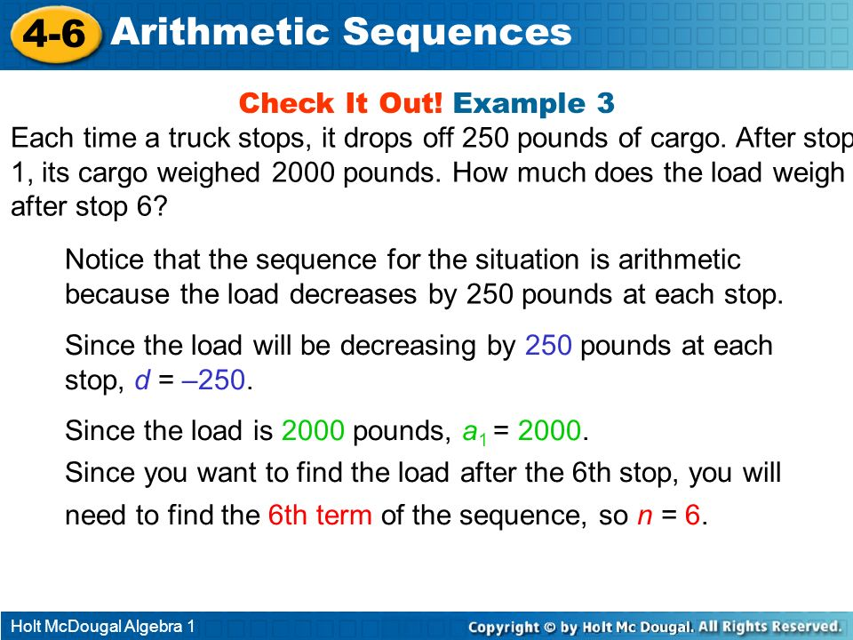4-6 Arithmetic Sequences Check It Out! Example 3