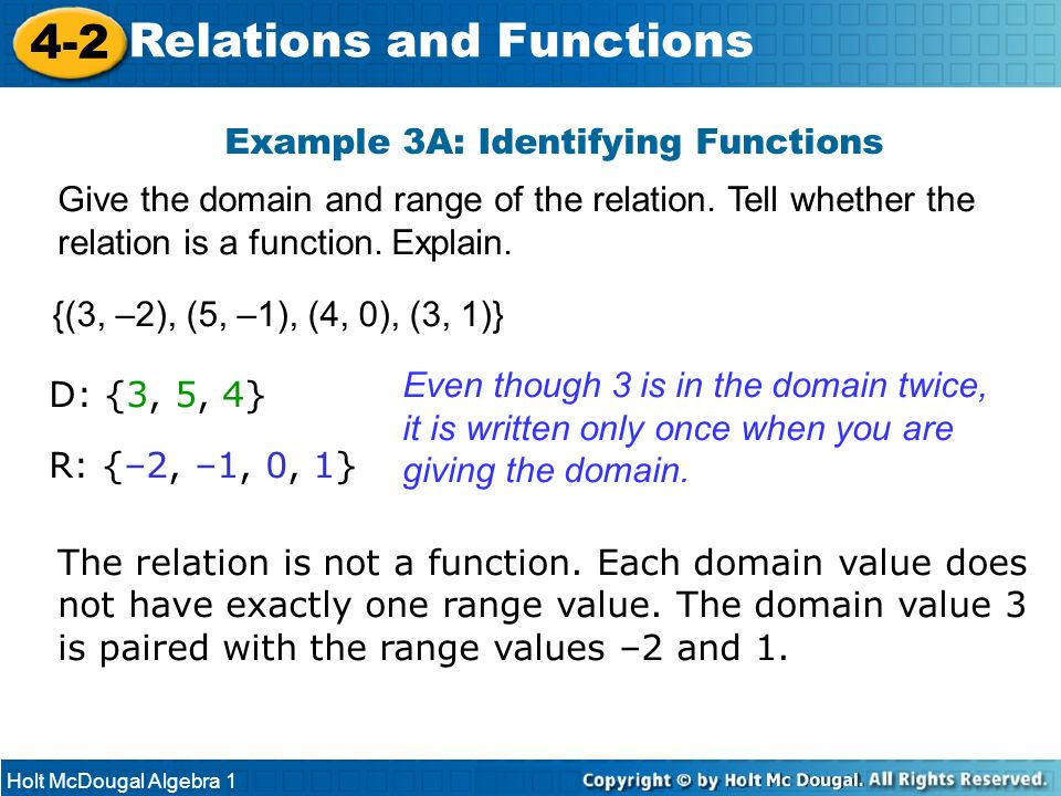 Example 3A: Identifying Functions