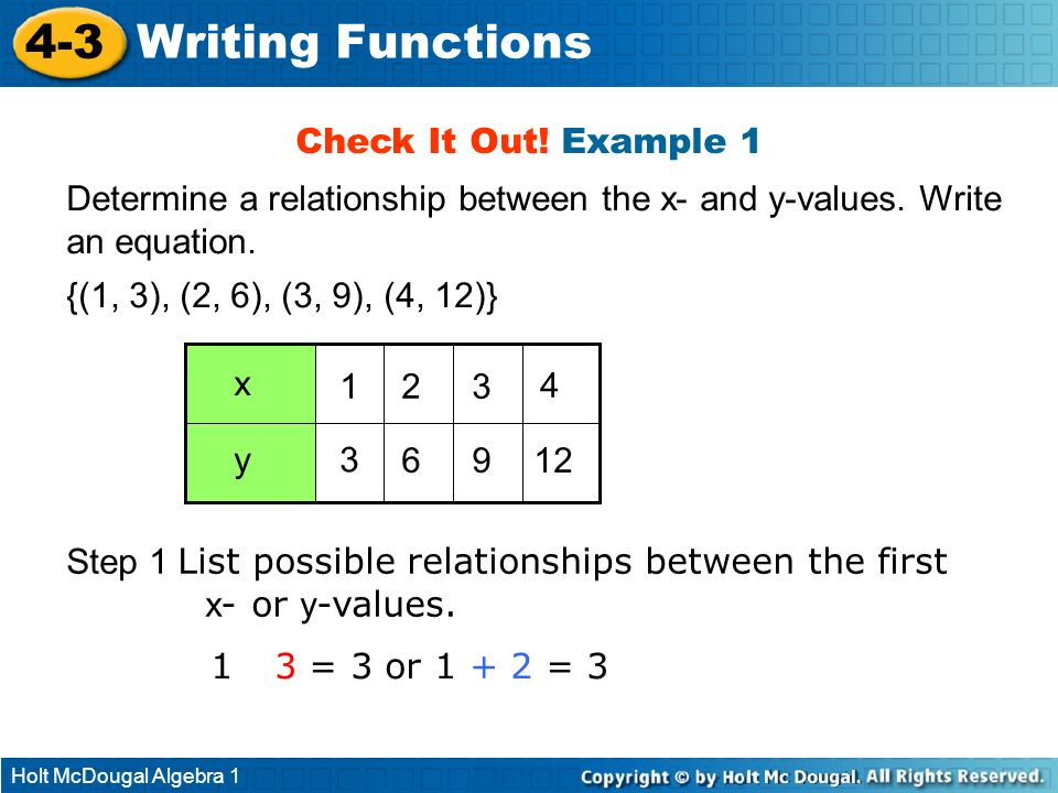 4-3 Writing Functions Check It Out! Example 1