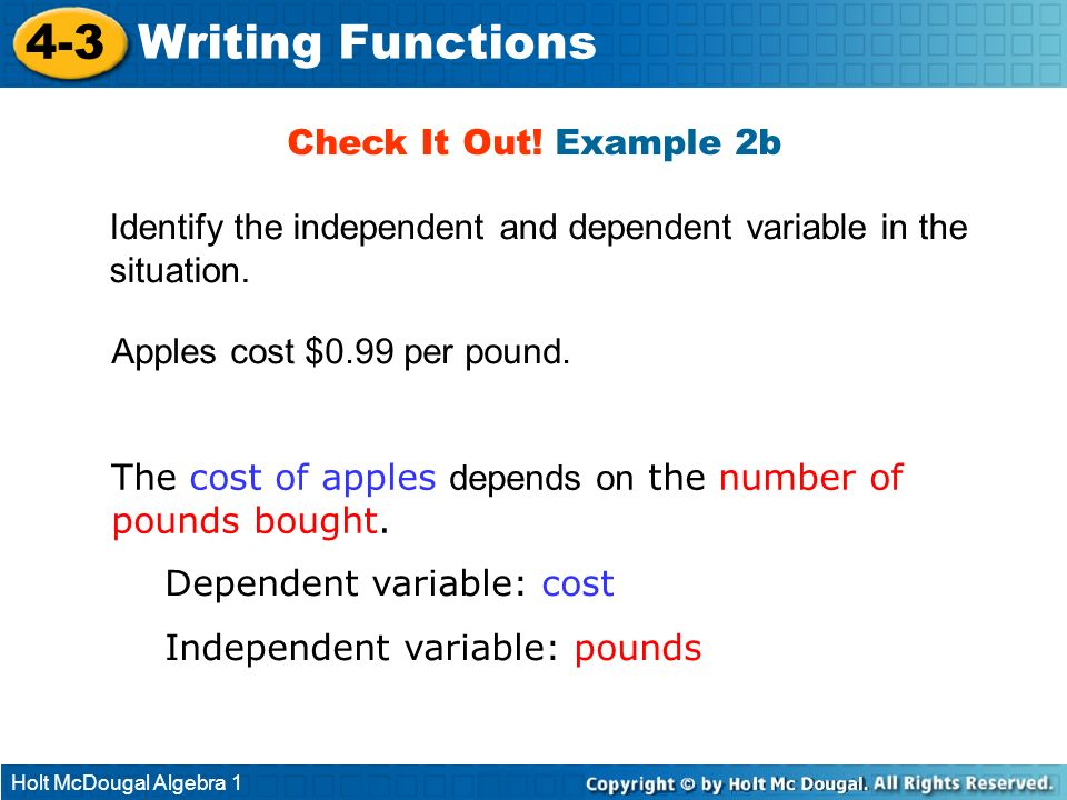 4-3 Writing Functions Check It Out! Example 2b