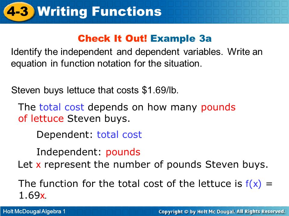 4-3 Writing Functions Check It Out! Example 3a