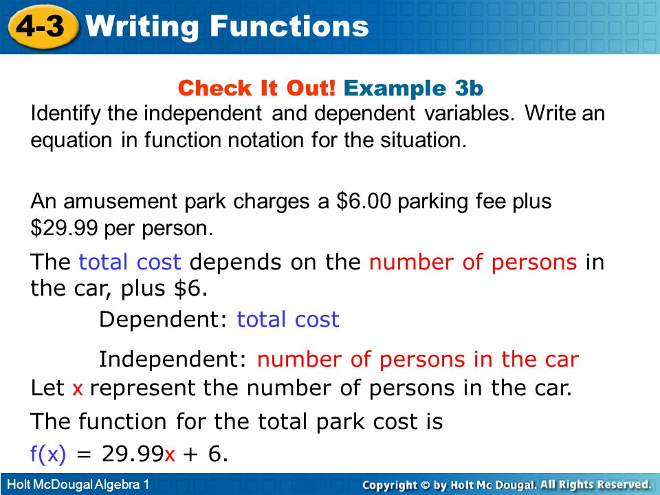4-3 Writing Functions Check It Out! Example 3b