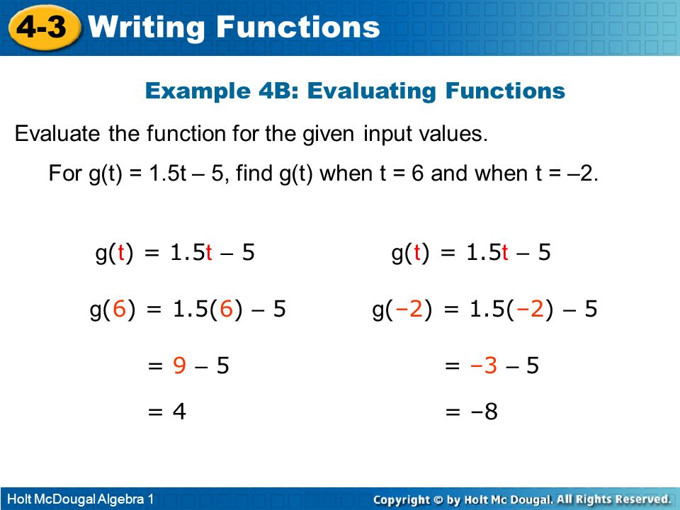 Example 4B: Evaluating Functions