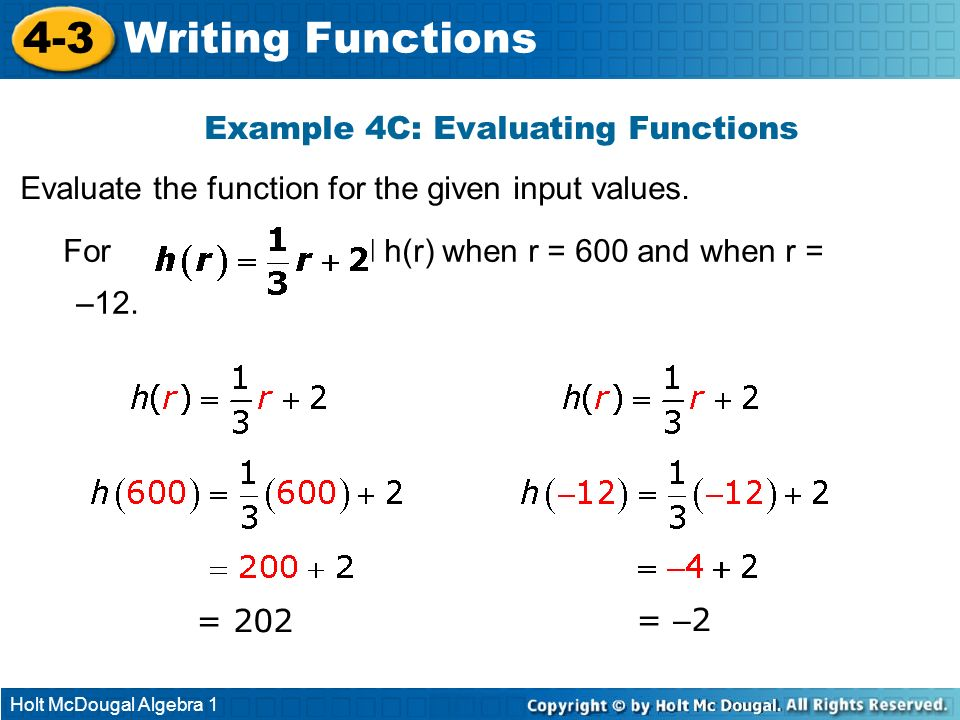 Example 4C: Evaluating Functions