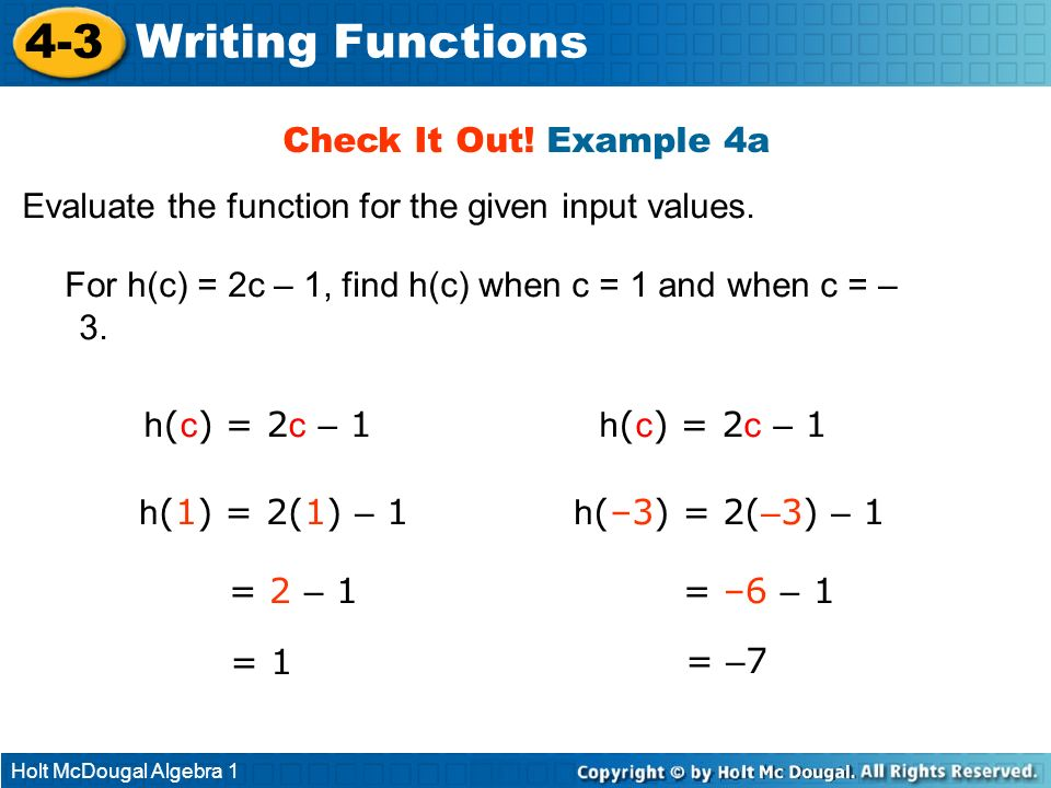 4-3 Writing Functions Check It Out! Example 4a
