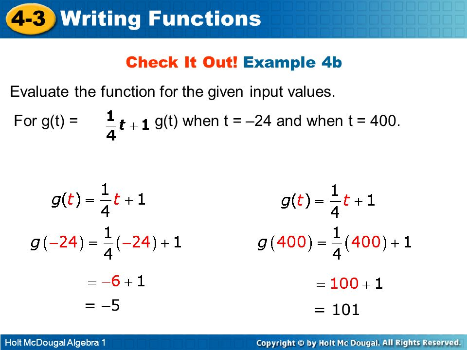 4-3 Writing Functions Check It Out! Example 4b