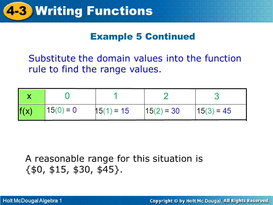 4-3 Writing Functions Example 5 Continued