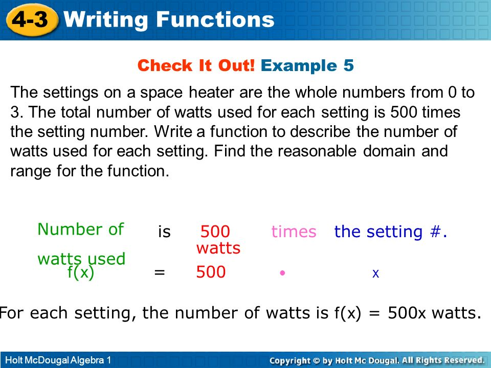 4-3 Writing Functions Check It Out! Example 5
