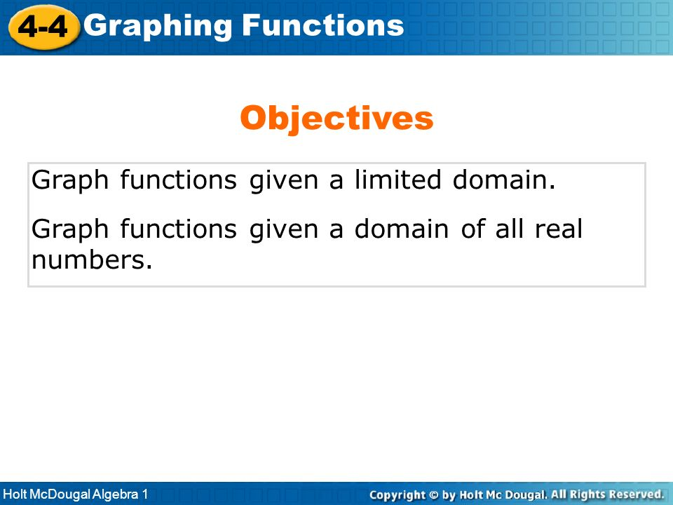 Objectives 4-4 Graphing Functions