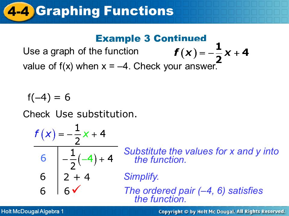 4-4 Graphing Functions  Example 3 Continued