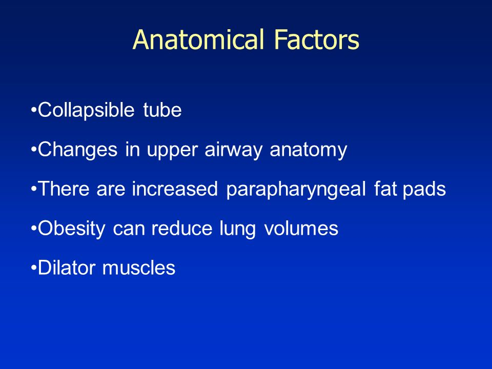 Anatomical Factors Collapsible tube Changes in upper airway anatomy