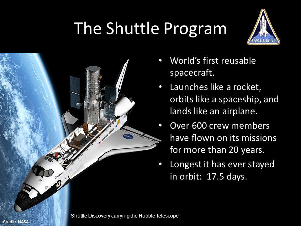 The Shuttle Program World's first reusable spacecraft.