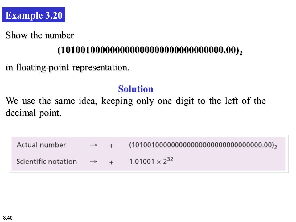 Example 3.20 Show the number. (101001000000000000000000000000000.00)2. in floating-point representation.