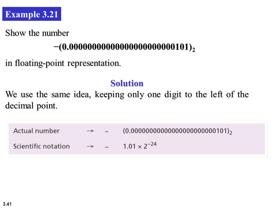 Example 3.21 Show the number. −(0.00000000000000000000000101)2. in floating-point representation.