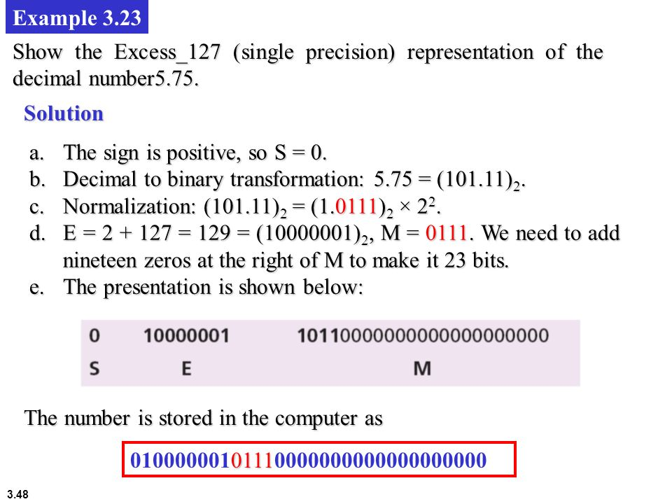 Example 3.23 Show the Excess_127 (single precision) representation of the decimal number5.75. Solution.