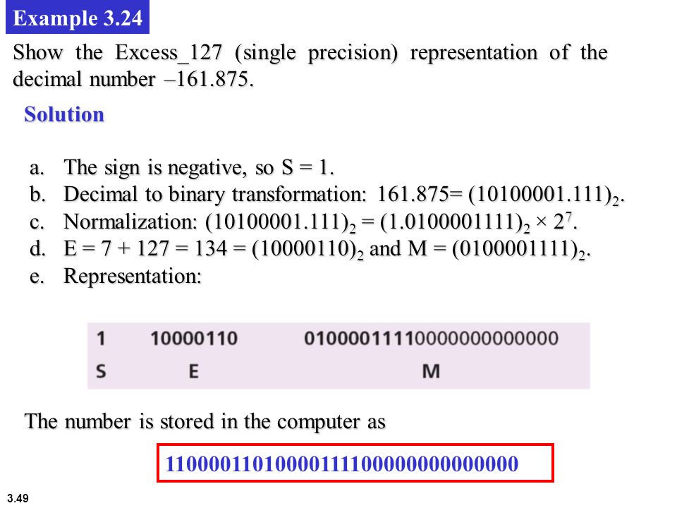 Example 3.24 Show the Excess_127 (single precision) representation of the decimal number –161.875. Solution.