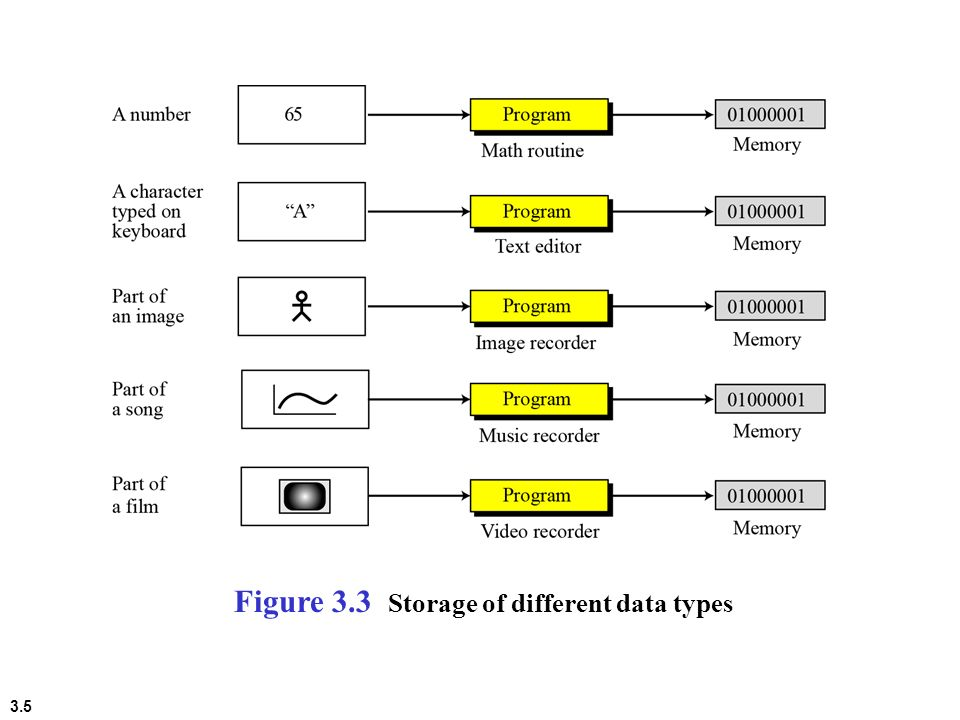 Figure 3.3 Storage of different data types