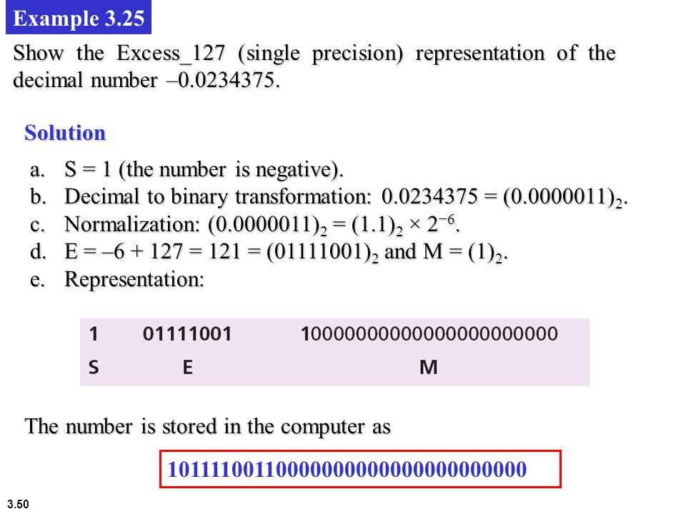 Example 3.25 Show the Excess_127 (single precision) representation of the decimal number –0.0234375.