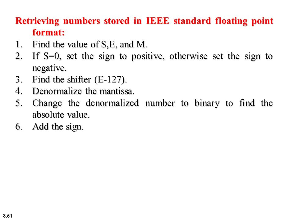 Retrieving numbers stored in IEEE standard floating point format: