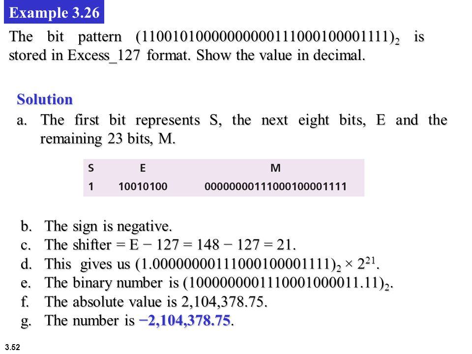 Example 3.26 The bit pattern (11001010000000000111000100001111)2 is stored in Excess_127 format. Show the value in decimal.
