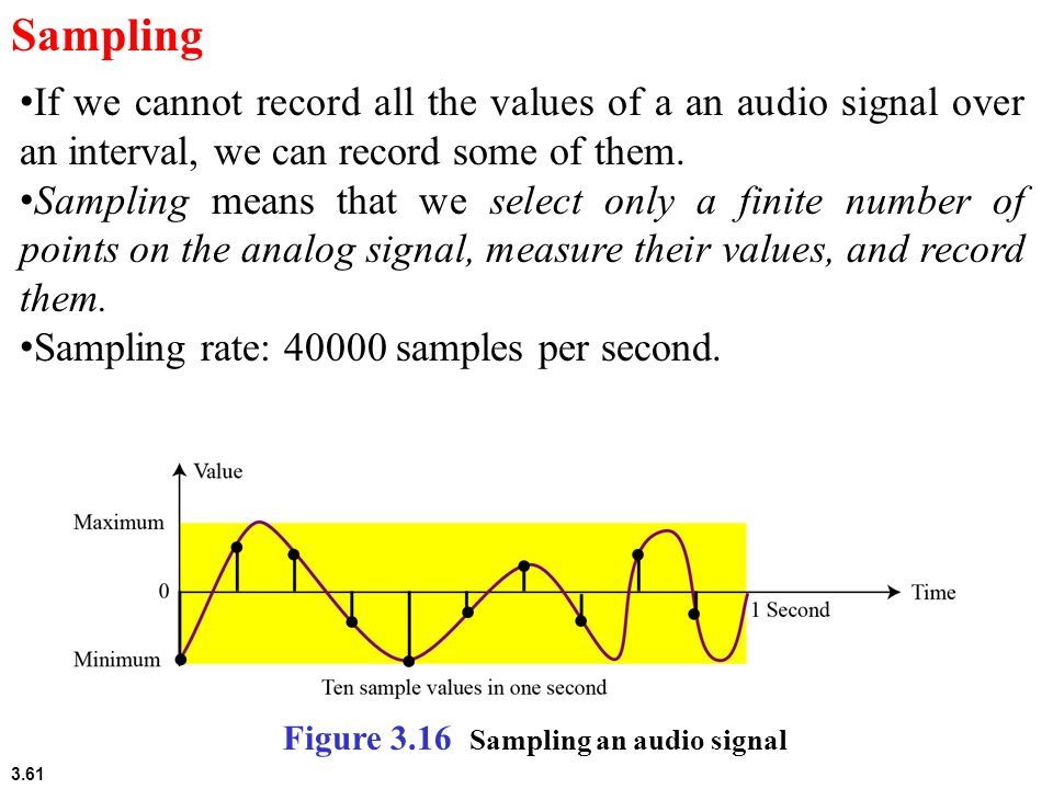 Sampling If we cannot record all the values of a an audio signal over an interval, we can record some of them.