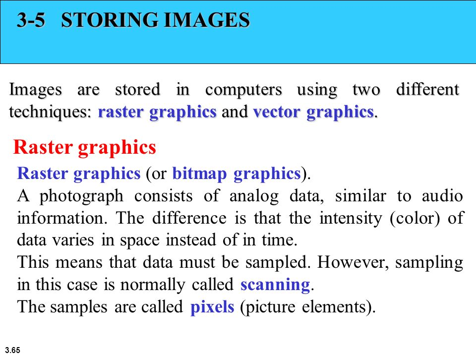 3-5 STORING IMAGES Raster graphics