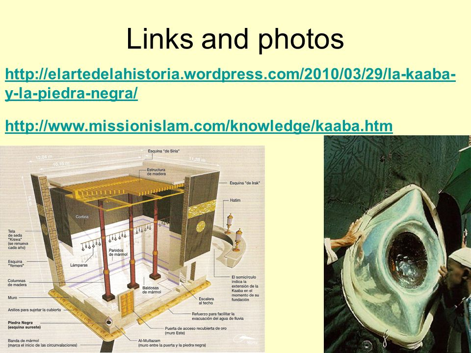 Links and photos http://elartedelahistoria.wordpress.com/2010/03/29/la-kaaba-y-la-piedra-negra/ http://www.missionislam.com/knowledge/kaaba.htm.