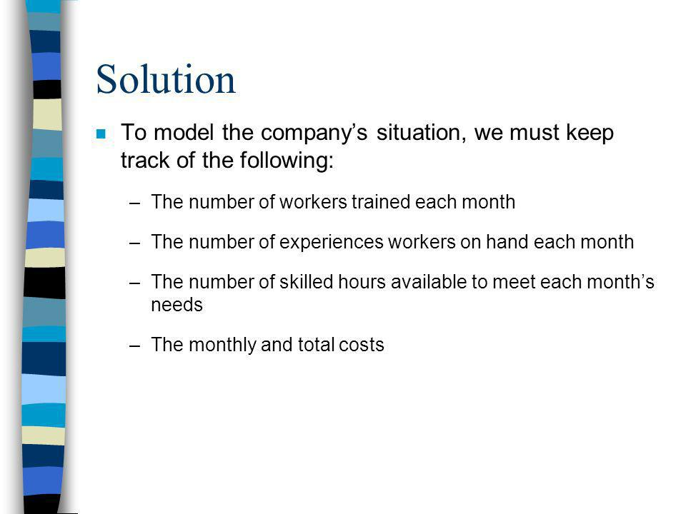 Solution To model the company's situation, we must keep track of the following: The number of workers trained each month.