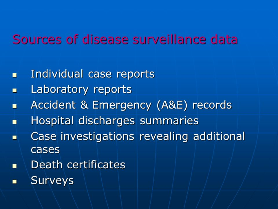Sources of disease surveillance data