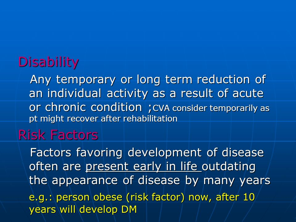 Disability Risk Factors