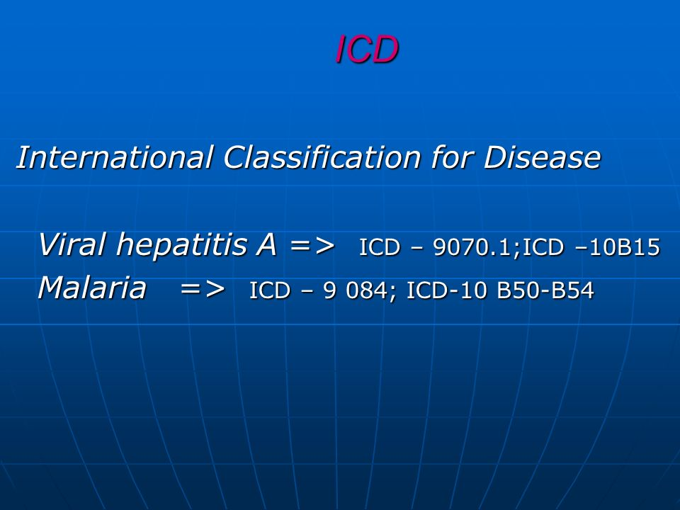 ICD International Classification for Disease