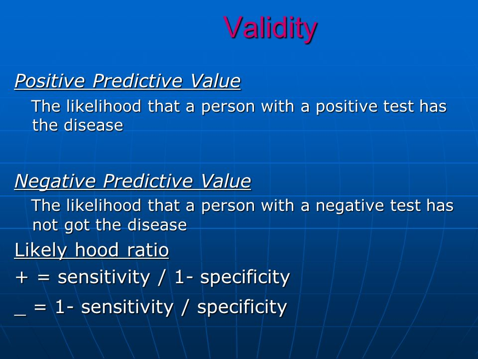 Validity Positive Predictive Value Negative Predictive Value