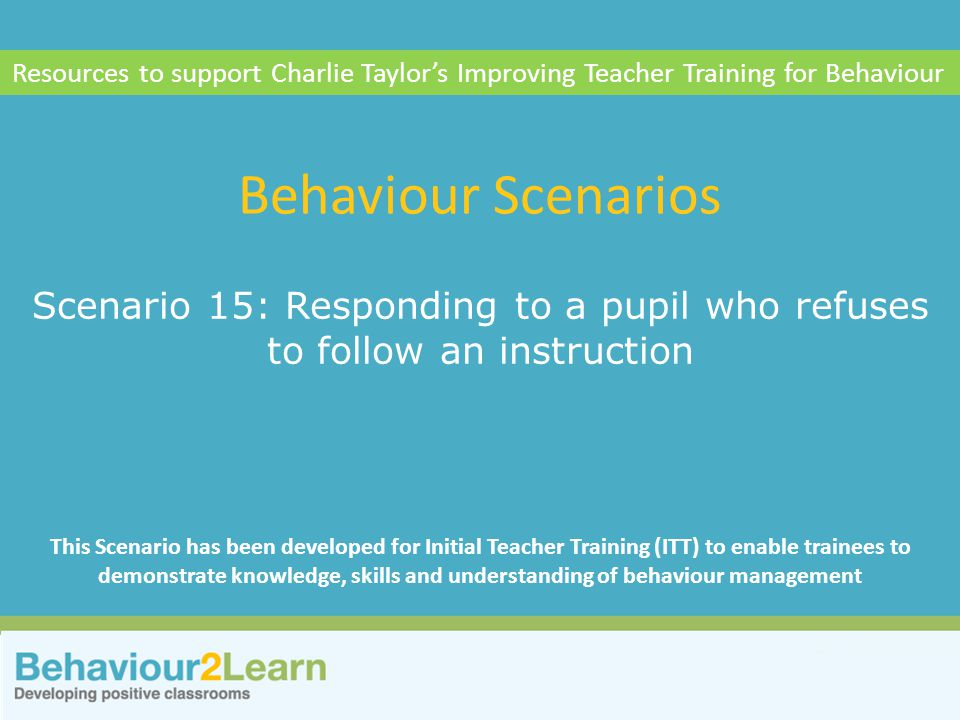 Resources to support Charlie Taylor's Improving Teacher Training for Behaviour