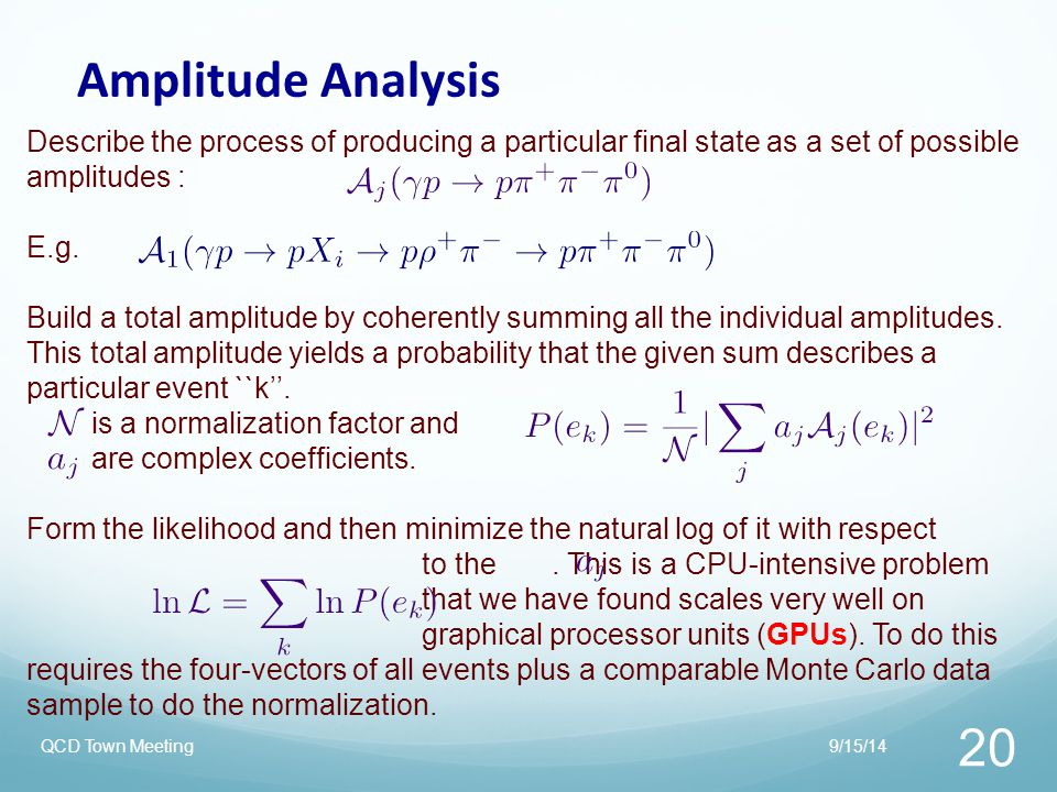 Amplitude Analysis Describe the process of producing a particular final state as a set of possible amplitudes :