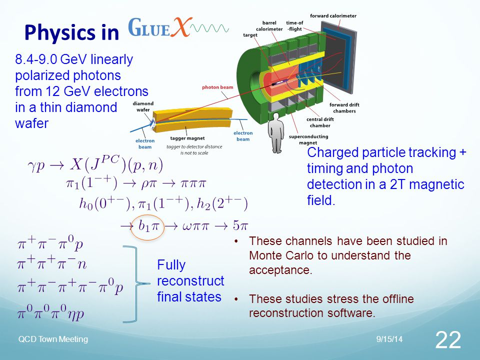 Physics in 8.4-9.0 GeV linearly polarized photons from 12 GeV electrons in a thin diamond wafer.