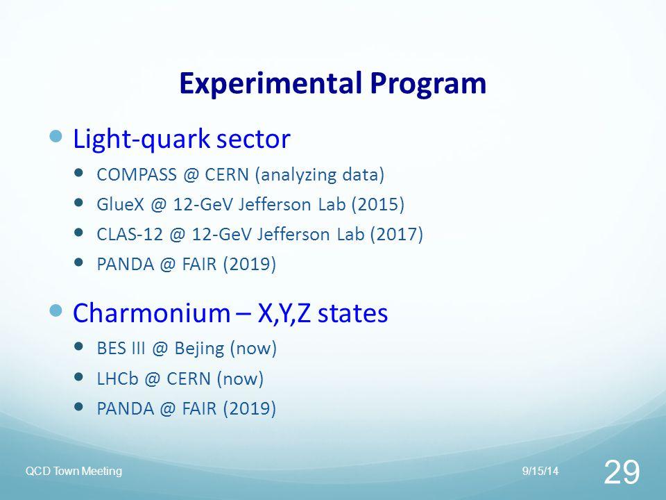 Experimental Program Light-quark sector Charmonium – X,Y,Z states