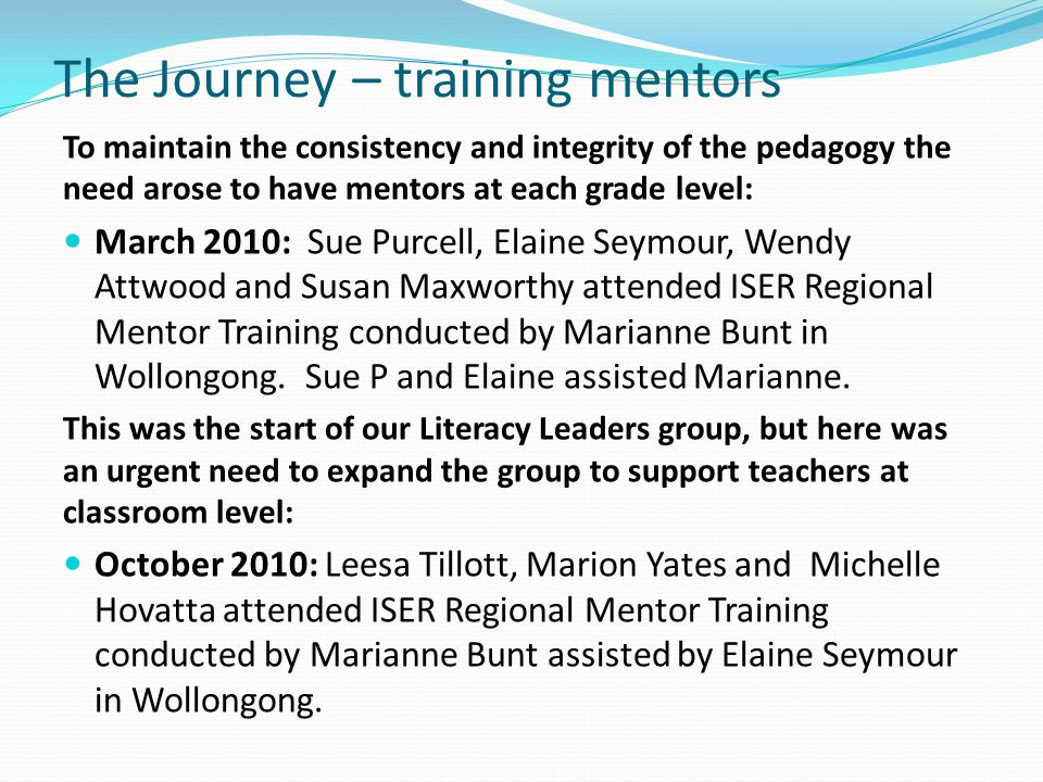 The Journey – training mentors