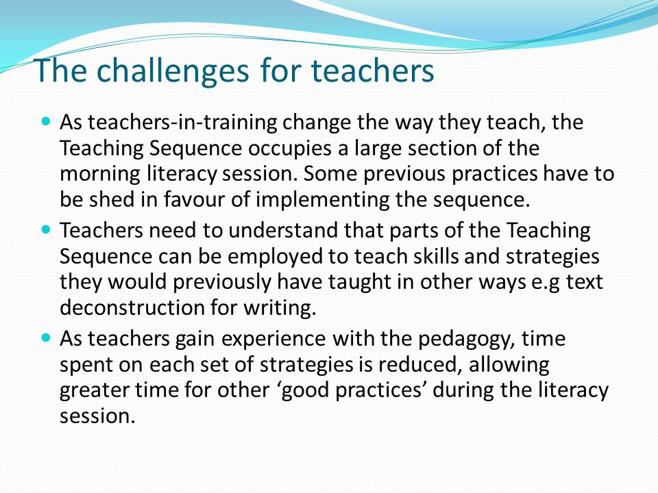 The challenges for teachers