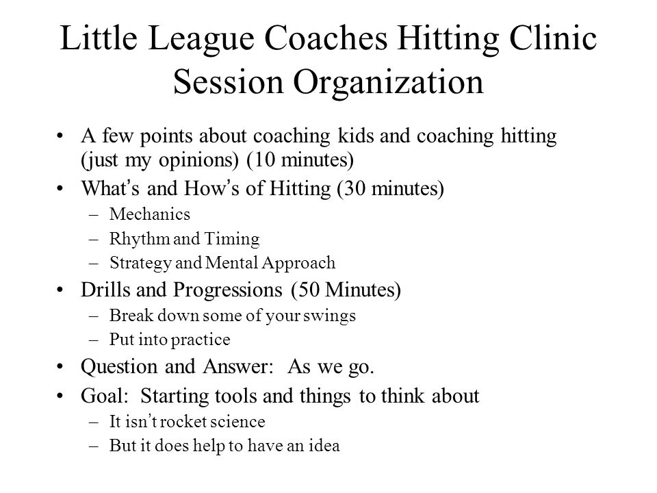 Little League Coaches Hitting Clinic Session Organization