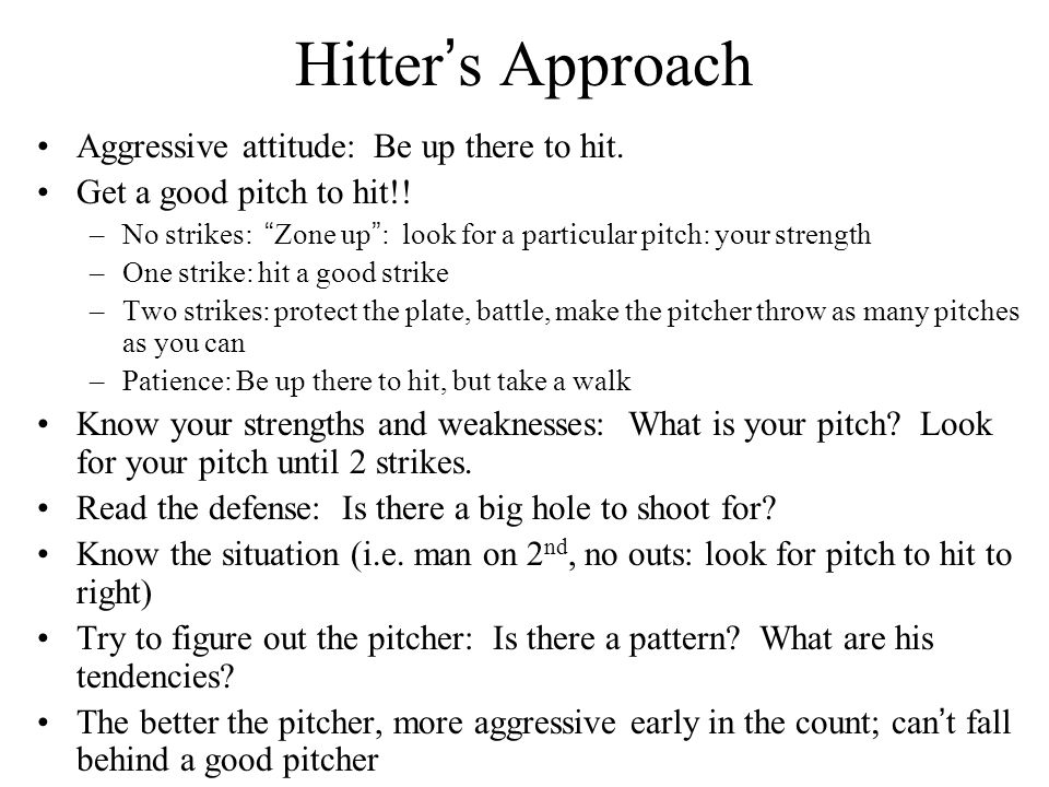 Hitter's Approach Aggressive attitude: Be up there to hit.