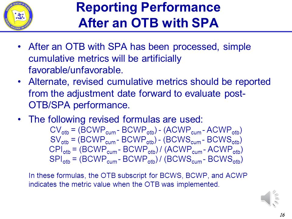 Reporting Performance After an OTB with SPA