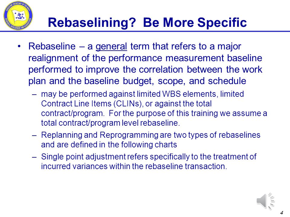 Rebaselining Be More Specific