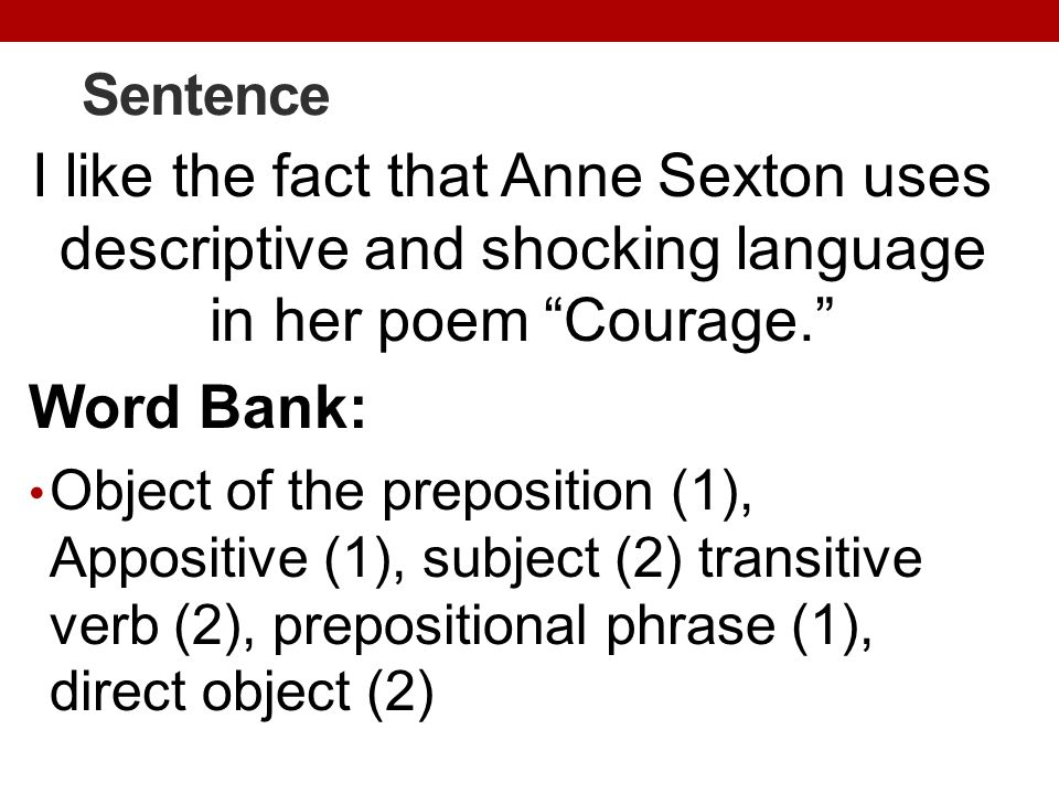 Sentence I like the fact that Anne Sexton uses descriptive and shocking language in her poem Courage.