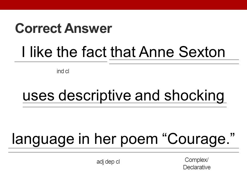 Correct Answer I like the fact that Anne Sexton uses descriptive and shocking language in her poem Courage.