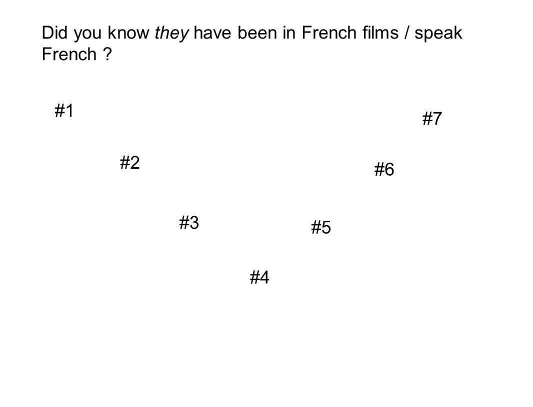 Did you know they have been in French films / speak French
