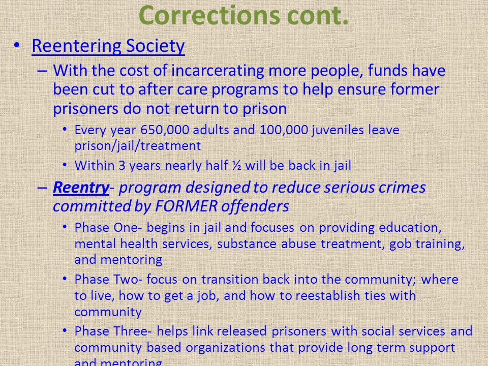 Corrections cont. Reentering Society