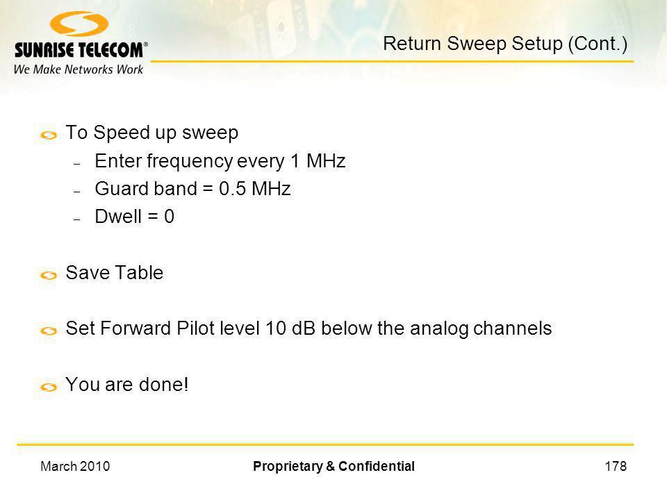 Return Sweep Setup (Cont.)