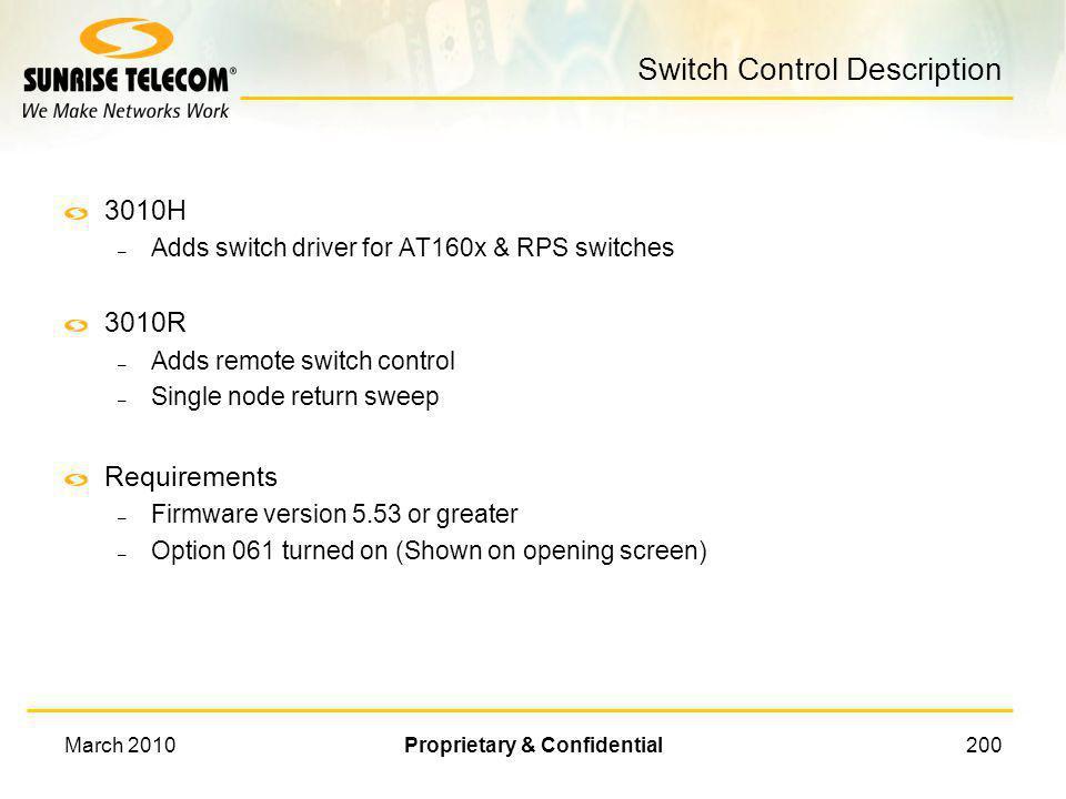 Switch Control Description