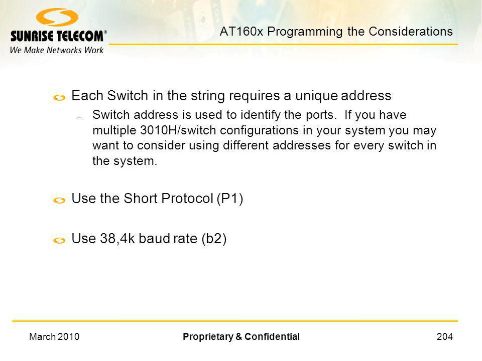 AT160x Programming the Considerations
