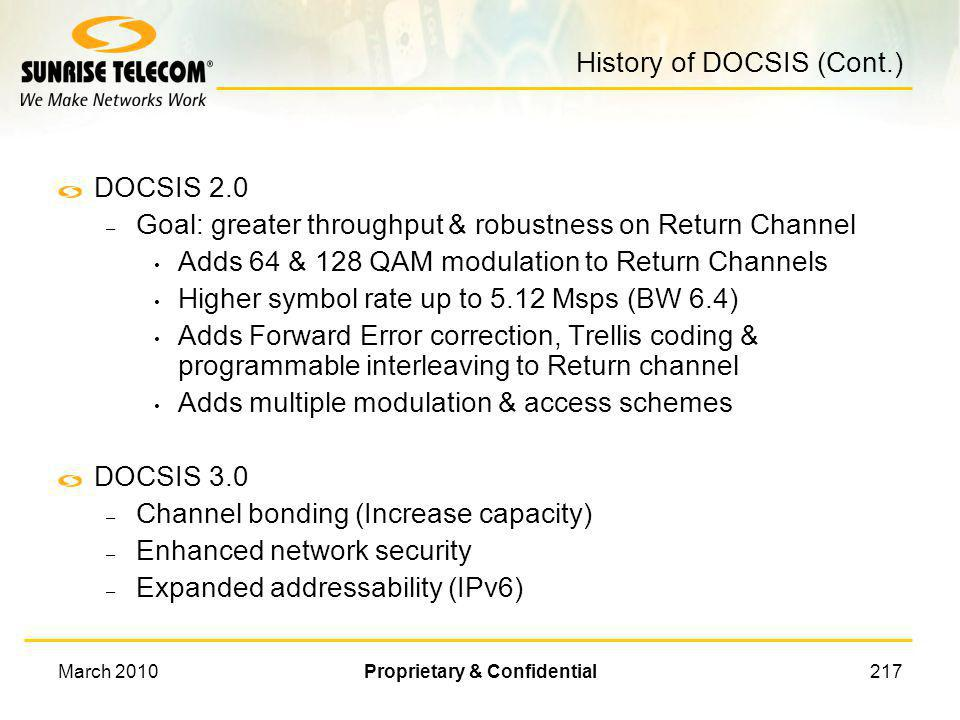 History of DOCSIS (Cont.)